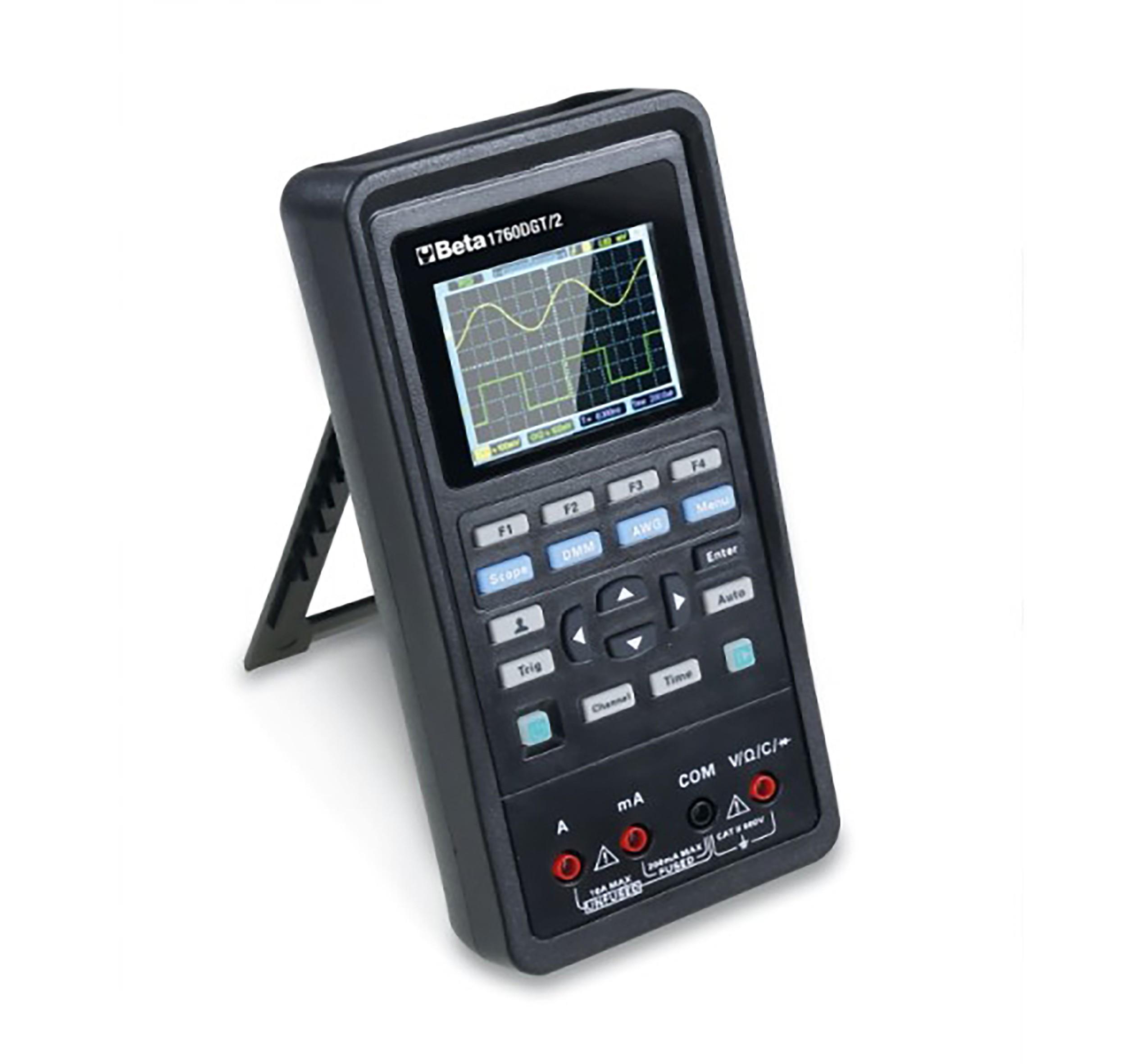 Digitale automotive multimeter, draagbaar, met een 2-kanaals oscilloscoop en golfvorm generator