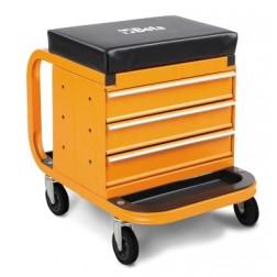 rijdbare zitkruk met gereedschapsladen