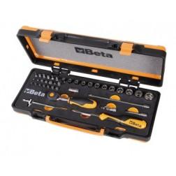12 zeskantdopsleutels, 20 bits en 7 overige onderdelen in kist