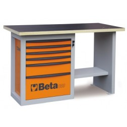compacte werkbank met 6 laden