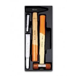 bankhamer en kunststof hamer ± 300 gr. en 2 koudbeitels 100-200 mm